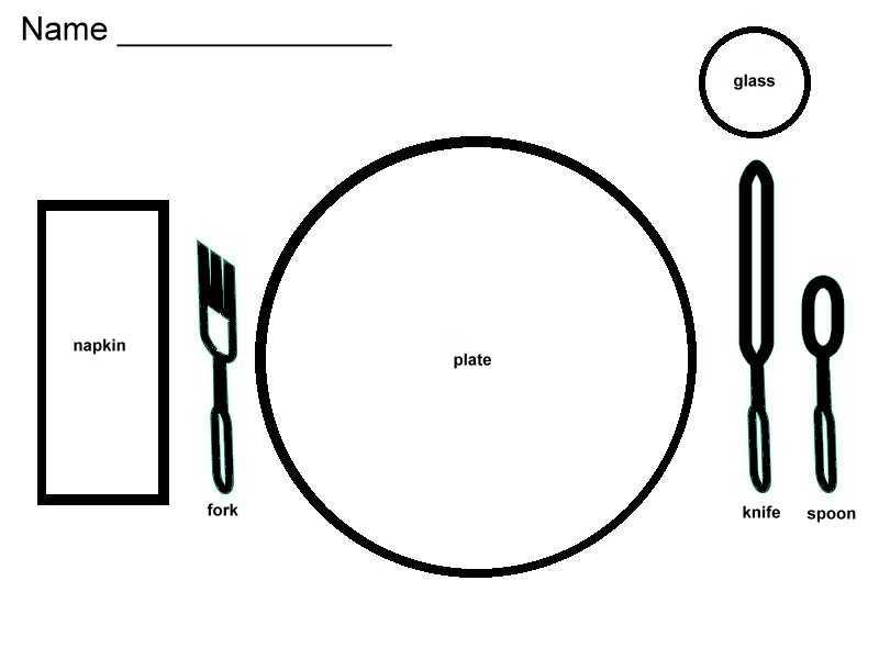 Setting the Table - Preschool Worksheet